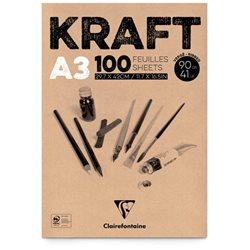 Блок крафт-бумаги на спирали 29,7*42см / 60л / 90 гр