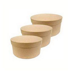 Набор из 3 коробочек с крышками/ кругл/ папье-маше/ Высота 16 см