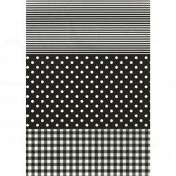 Бумага для техники DECOPATCH 30х40 / Горошек/клетка черн.
