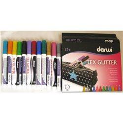 Набор маркеров по текстилю DARWI Tex Glitter/ 12 х 6мл