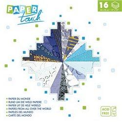 Блок бумаги 30*30см 16л/16 видов фактур и дизайна/ Синяя гамма