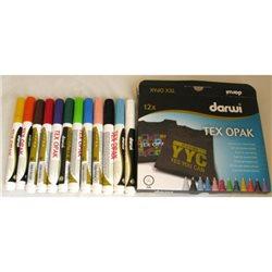 Набор маркеров по текстилю DARWI Tex Opak/ 12 х 6мл