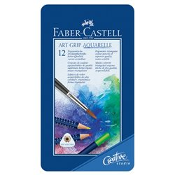 Набор акварельных карандашей Art Grip Aquarelle с кисточкой в металлической коробке 12 цв.