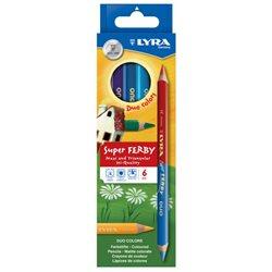 Цветные карандаши двусторон. 6 цв. Lyra SuperFerby Duo Bicolor утолщ.