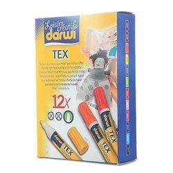 Набор маркеров по текстилю DARWI Tex/ 12 х 3мл