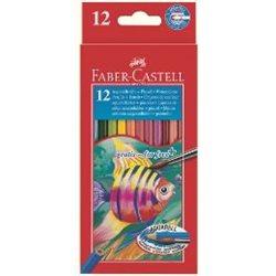 Акварельные карандаши COLOUR PENCILS с кисточкой, набор 12 цветов, в картонной коробке
