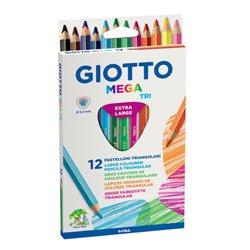 Цветные утолщенные карандаши GIOTTO MEGA-TRI 12 цв. толщ. грифеля 5,5 мм.