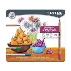 Набор акварельных карандашей цветных 24 цв. Lyra Rembrandt AQUARELL в метал.коробке.