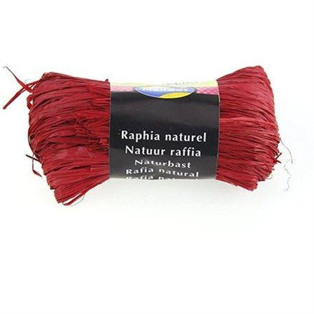 Бечевка из пальмового лыка RAFIA (натур)/ для подарочн. упаковки/Красный