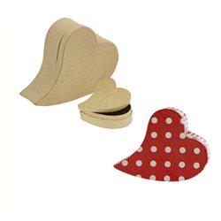 Набор из 2 коробочек/сердце/ папье-маше/ Высота 3,5см