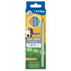 Цветные карандаши 6 цв. Lyra SuperFerby Metallik утолщ.