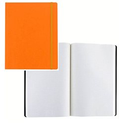 Ноотбук оранжевый с резинкой А5, 80 листов в матречную точку 85 г/м2