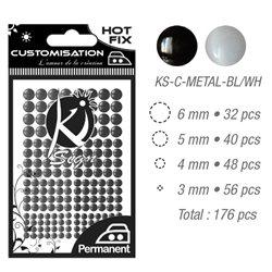 Стразы черные и белые термотрансфертные для тканей 3,4,5,6мм, 176 шт