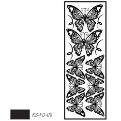 """Мотив с эффектом велюра """"Бабочки"""" черный, термотрансфертный 10х30см"""