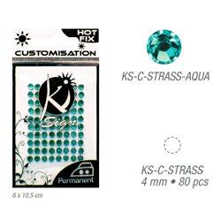 Стразы светло-голубые термотрансфертные для тканей 4мм, 80 шт