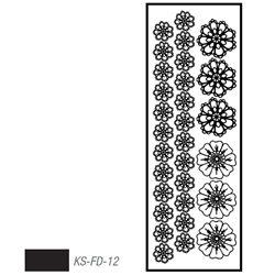 """Мотив с эффектом велюра """"Цветы"""" черный, термотрансфертный 10х30см"""