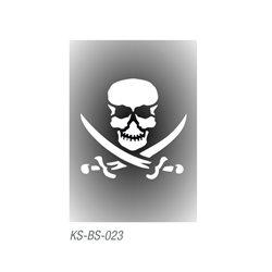 """Трафарет для тату """"Череп пирата"""" 7х10 см"""