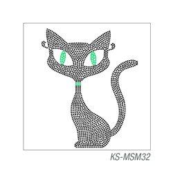 """Мотив из страз """"Кот"""", термотрансфертный 10х15 см"""