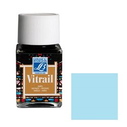 """Краска лаковая прозрачная по стеклу Lefranc Bourgeois """"Vitrail"""" №028 Небесно-голубая/б.50мл"""