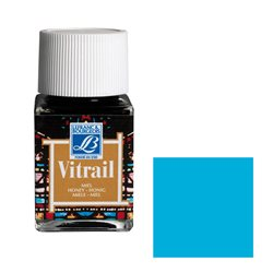 """Краска лаковая прозрачная по стеклу Lefranc Bourgeois """"Vitrail"""" №087 Лазурно-голубая/б.50мл"""