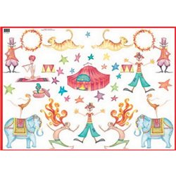 Декупажная карта (50х70 см), тема Цирк