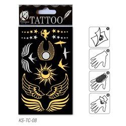 Временное тату 9,5х15,5 см/ Крылья, золото и серебро