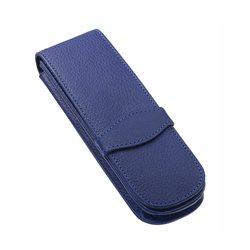 Футляр из натур. кожи для пишущих инструментов (на 2 ручки), синий