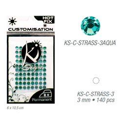 Стразы светло-голубые термотрансфертные для тканей 3мм, 140 шт