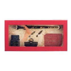 Подарочн.набор с перьями, оловян.держателем, промокашкой и чернилами
