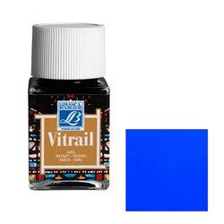 """Краска лаковая прозрачная по стеклу Lefranc Bourgeois """"Vitrail"""" №025 Голубая/б.50мл"""