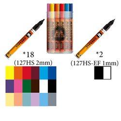 Набор маркеров Molotow 127HS Main-Kit I, 18 цв х 2мм и 2 цв х 1мм
