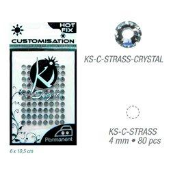Стразы-кристаллы термотрансфертные для тканей 4мм, 80 шт