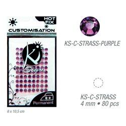 Стразы фиолетовые термотрансфертные для тканей 4мм, 80 шт
