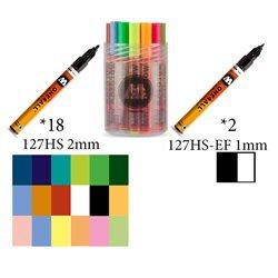Набор маркеров Molotow 127HS Main-Kit II, 18 цв х 2мм и 2 цв х 1мм
