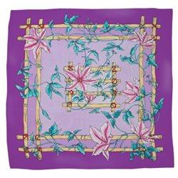 "Шелк. платок с контурным рисунком 90х90 ""Лилии"""