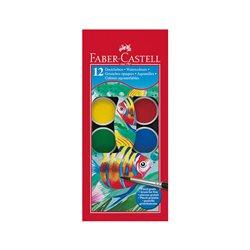 Акварельные краски WATERCOLOURS с кисточкой, диаметр 30 мм, набор цветов, в пластиковом поддоне, 12 шт.
