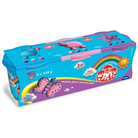 Паста для лепки DIDO 3*220гр синяя, розовая, лиловая