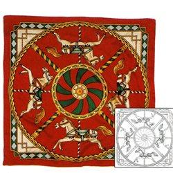 "Шелк.платок с контурным рисунком 90х90 ""Карусель"""