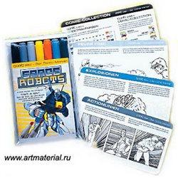 """Набор маркеров """"COPIC CIAO Spacerobots"""" Comic (6+1 шт)"""
