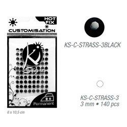 Стразы черные термотрансфертные для тканей 3мм, 140 шт