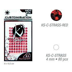 Стразы красные термотрансфертные для тканей 4мм, 80 шт