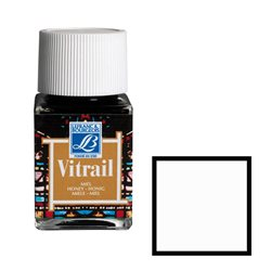 """Краска лаковая укрывистая по стеклу Lefranc Bourgeois """"Vitrail"""" №004 Белый/б.50мл"""