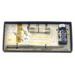 Подарочн.набор с перьями, оловян.держателем и чернилами