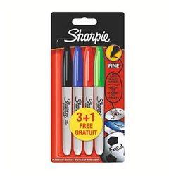 Набор черных перманент. маркеров Sharpie, 4 шт в блистере