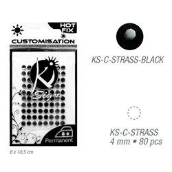 Стразы черные термотрансфертные для тканей 4мм, 80 шт