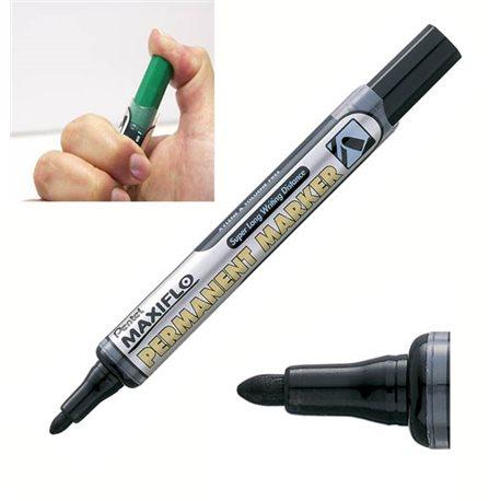 Маркер перманентный черный с жидкими чернилами и кнопкой подкачки чернил