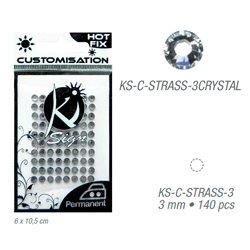 Стразы-кристаллы термотрансфертные для тканей 3мм, 140 шт