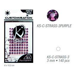 Стразы фиолетовые термотрансфертные для тканей 3мм, 140 шт