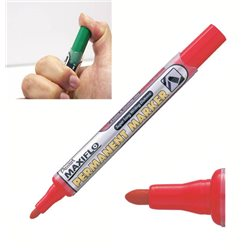 Маркер перманентный красный с жидкими чернилами и кнопкой подкачки чернил