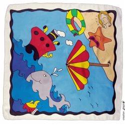 "Шелк. платок с контурным рисунком 55х55 ""Пляж"""